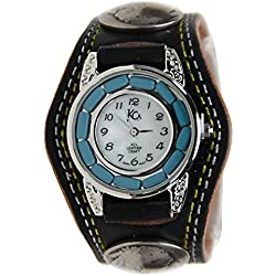 Kc,s Leather Craft Watch Bracelet Turquoise Movemnet 3 Concho Double Stitch Color Black