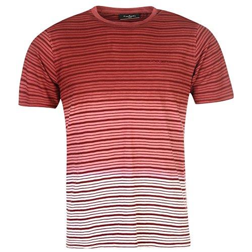 Pierre Cardin Herren Dip Dye T Shirt Gestreift Kurzarm Rundhals Bestickt Logo Burg/weiss UK XX Large (Dye Dip Rotes)