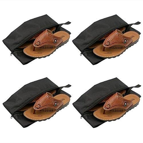 Skitic 4pcs Portatile Impermeabile in Nylon Borse Scarpe di Viaggio Organizer da Tasca con Chiusura a Zip - Nero