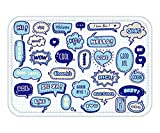 LULABE Doormat Cute Speech Bubble Doodle Set 7 23.6 W X 15.7 W Inches