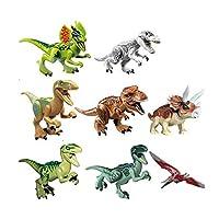 8 قطع من العاب الاحجية واحجار البناء على شكل ديناصور العصر الجوراسي للأطفال.