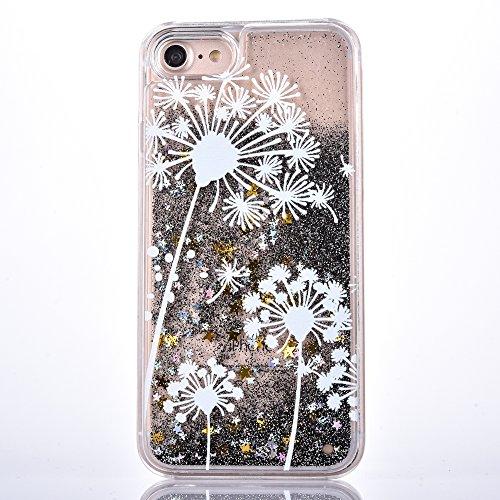 Voguecase Pour Apple iPhone 7 Plus 5,5, Luxe Flowing Bling Glitter Sparkles Quicksand et les étoiles Hard Case étui Housse Etui(Pissenlit-Or) de Gratuit stylet l'écran aléatoire universelle Pissenlit 12-Noir