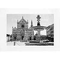Archivio Foto Locchi Firenze – Stampa Fine Art su passepartout 70x50cm. – Immagine di Piazza Santa Croce a Firenze negli anni '30