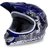 Motorradhelm Kinder Cross Helme X-treme Sturzhelm Schutzhelm Helm für Motorrad Kinderquad und Crossbike Modell in blau (XX-Large)