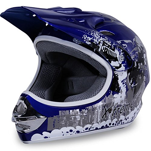 Motorradhelm Kinder Cross Helme Sturzhelm Schutzhelm Helm für Motorrad Kinderquad und Crossbike in blau (X-Small)