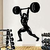 Adesivo Da Parete Orologio Carta Da Parati Murale Art Fitness Man Vinyl Fitness Room Accessori Per La Casa Impermeabili 45X63cm