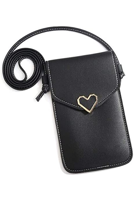 Black Touches Screen PU Leather Change Bag Coin Purse Womens Touchable Cell Phone Handbag with Clear Pocket for iPhone Samsung Smartphone Under 6.5 Inch Mobile Phone Bag Crossbody Clear Window