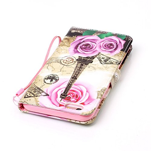 Coque iPhone 6s Plus, Étui en cuir pour iPhone 6 Plus, Lifetrut [Cash Slot] [Porte-cartes] Magnetic Flip Folio Wallet Case Couverture avec sangle pour iPhone 6s Plus / 6 Plus [Papillon] E206-Paris romantique