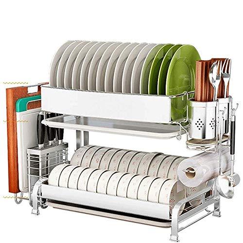 JNWEIYU Geschirrspüler Wäschetrockner, Abflusszahnstange for Küche Stattbedarf Lagerung, Zähler Organizer, Besteckkorb, Edelstahl, platzsparende Anzeige