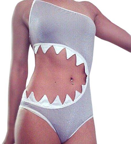 iler Hai Mund Badeanzug Bikini Beachwear Tankini - Grau - US Medium Nach Large ()