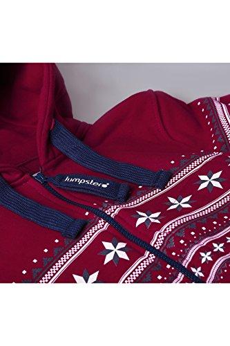 JUMPSTER Jumpsuit ALPAKA Damen & Herren Overall, langer unisex Onesie mit Norwegerdruck und Kapuze MADE IN EU (slim / regular) Warmes Rot