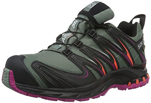 Salomon XA Pro 3D GTX, Chaussures de Trail Femmes, Gris (Light Titan/Black/Coral Punch), 41 1/3 EU
