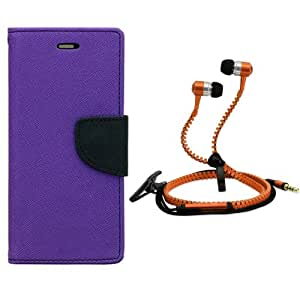 Aart Fancy Diary Card Wallet Flip Case Back Cover For Motorola Moto X3-(Purple) + Zipper earphones/Hands free With Mic *Stylish Design* for all Mobiles By Aart store