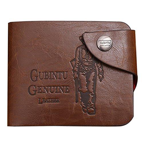 Domybest Mens echtes Leder Brieftasche Kartenhalter schlanke Geldbörse braun # 1 -