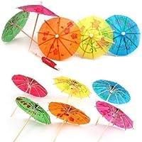 Accessotech 24 Mezclado Papel Paraguas Cóctel Sombrillas para fiesta Tropical Bebidas Accesorios