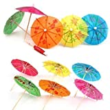 Accessotech 24 Mixed Paper Cocktail Umbrellas Parasols for Party Tropical Drinks Accessories