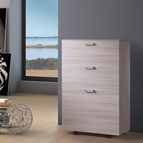 Cama plegable individual con somier, colchón y compartimento interno de almacenaje.Link 539,madera de olmo de color claro