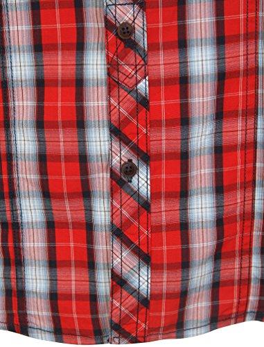 Tokyo Laundry Herren Peven Langarm Brusttaschen Knopf Kariert Hemd Größe S-XXL Rot