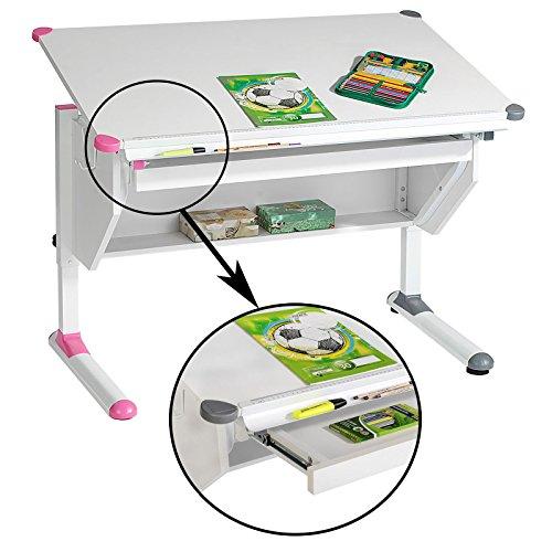 Kinderschreibtisch Schülerschreibtisch PHILIPP höhenverstellbar in weiß mit Schublade und Ablage, Wechselkappen rosa pink und grau für Jungs und Mädchen