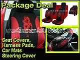 13pc pc piezas rojo negro dragón Juego de fundas para asientos de coche alfombrillas + Volante Funda guante + arnés hombro almohadillas paquete unidades deal