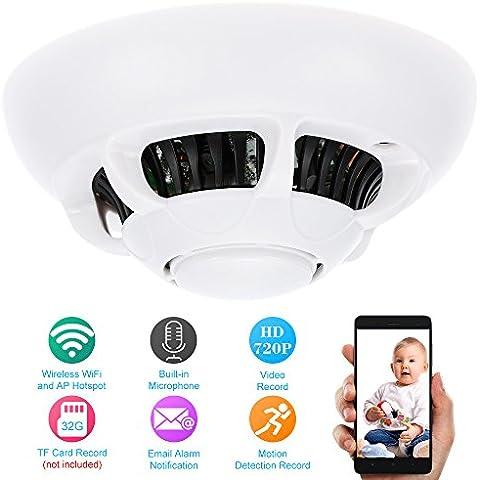 KKmoon Cámara IP Vigilancia (HD 720P, CCTV DVR, Wifi, P2P, Soporta AP Hotspot Record Tarjeta TF, Detección de Movimiento, Alarma Email, Control Móvil