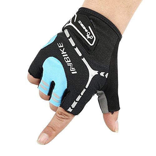 INBIKE Sommer Reithandschuhe Anti-seismische und atmungsaktiv Hälfte Finger kurze Finger Handschuhe für Herren und Damen blau XXL