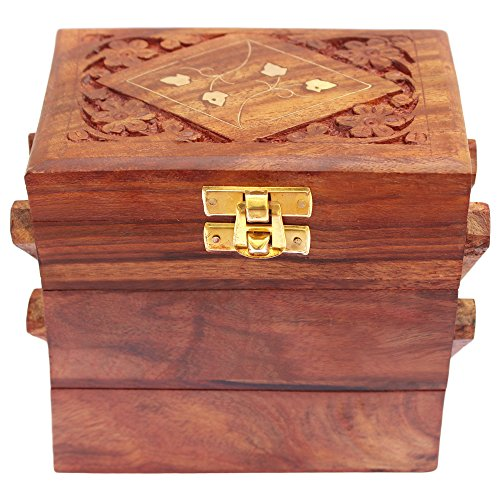 ITOS365 Handmade Wooden Jewellery Box For Women Jewel Organizer Flower Décor