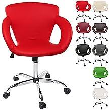 TRESKO® Design Taburete giratorio Silla de oficina, reposabrazos y mecanismo basculante, en 8 colores diferentes (Rojo)
