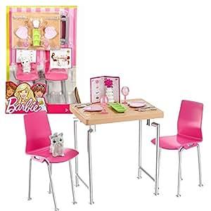 tisch st hle mit zubeh r barbie mattel dvx45 m bel einrichtung esszimmer. Black Bedroom Furniture Sets. Home Design Ideas