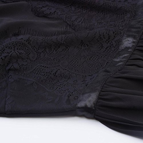 Robe de soirée, Vintage rétro Dentelle imprimée Fleurs Manche courte Sexy robe de soirée décontractée cocktail Noir