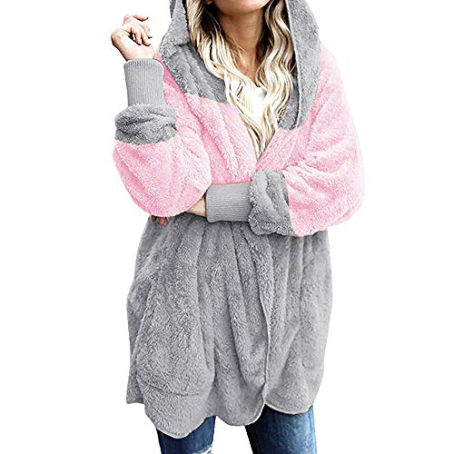 Kunstfell-elefant Tasche (LILIHOT Frauen übergroße Offene Front Mit Kapuze Drapierte Taschen Strickjacke Mantel Damen Casual Fuzzy Kapuzenjacke Kunstfell Cardigan Mantel mit Taschen)