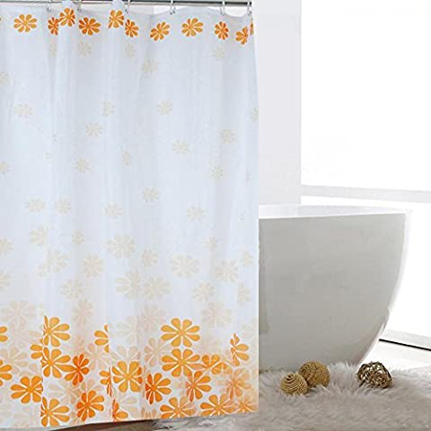 Rechoo Orange Peach Blossom Shower Curtain Waterproof Mildew Proof Polyester