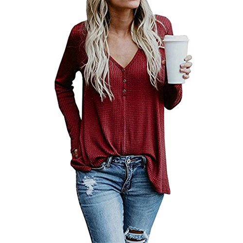 Hevoiok Damen Oberteile, Mode Freizeit Winter Frühling Knopf Solide V-Ausschnitt T-Shirt Hemdbluse Sweatshirt Einfarbig Beiläufige Langarm Bluse Pullover (Weinrot, M) (V-ausschnitt Knöpfe Solide)