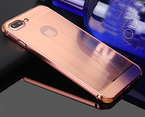 HICASER Luxus Chrom Bumper Hülle für Apple iPhone 7 Plus Case Ultra Slim Brushed Metall Aluminium + Kunststoff Handytasche Schutzhülle protective Cover Rose Gold Rose Gold