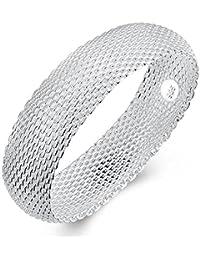 BODYA silver plated 20mm wide Italian Stardust Mesh Bracelet Bangles Strand cuff Bracelet For Women