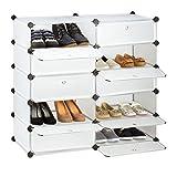 Relaxdays Schuhschrank mit 10 Fächern, Schuhregal groß, Steckregal Kunststoff, DIY, HBT ca. 90 x 94 x 37 cm, Transparent