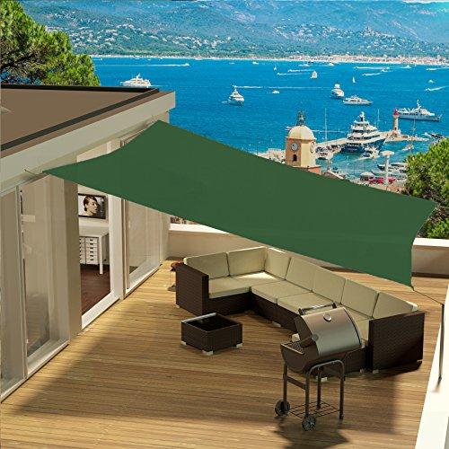 Eglemtek tenda parasole quadrata a vela telo da sole da esterno protezione solare da raggi uv completo di funi per ancoraggio disponibile in vari colori e misure (3x3 m, verde)