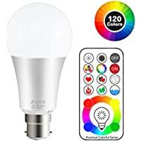 Jayool B22 LED Colour Changing Light Bulbs with Remote Control, Bayonet Dimmable Colour Bulbs with Timing, Memory & Sync, 120 Multi RGB Colours + Daylight White-3rd Generation (1 Pack)