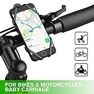 Bike Mount Phone Holder,iRainy Silicone Bicycle Phone Stand Fit for iPhone 7 Plus 6 Plus, Samsung S8 S7 and other 4-6 Inch Smartphones,Compatible with Road or Mountain Bikes & Motorbikes or Scooters