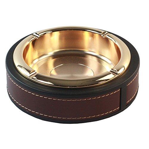 Luxury Gold Chrom Aschenbecher in Dark Tan und schwarz Leder