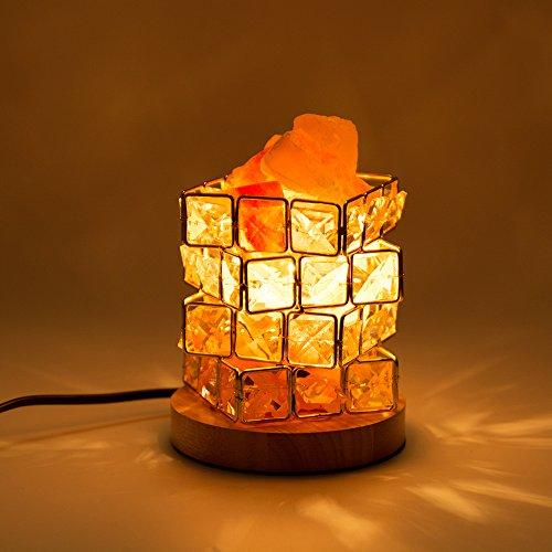 Halovie cristallo lampada di sale, naturale lampada di sale salgemma dell'himalaya 15w lampada da scrivania luce notturna a forma di cubo di rubik lampada elegante e magica con 2 lampadine