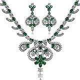AnaZoz-Bijoux-Parurus-Fantaisie-Femme-Collier-Elgant-Design-en-Couronne-Fleur-Feuille-Cristal-Forme-de-la-PierreOvale-Boucles-dOreilles-Collier-Sets-Vert