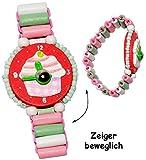 alles-meine.de GmbH 1 Stück _ Armbanduhr / Kinderuhr -  Muffin - rot  - aus Holz - bewegliche Zeiger ! - Lernuhr mit Armband - Uhr für Kinder - Mädchen & Jungen - Holzarmbanduh..