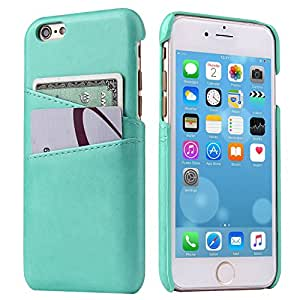 iPhone 6S Leather Card Case - SOWOKO iPhone 6 Ultra Slim Leather Wallet Case Credit Card ID Holder Slot Protection Cover for Apple iPhone 6S/6 4.7 inch (Mint Green)