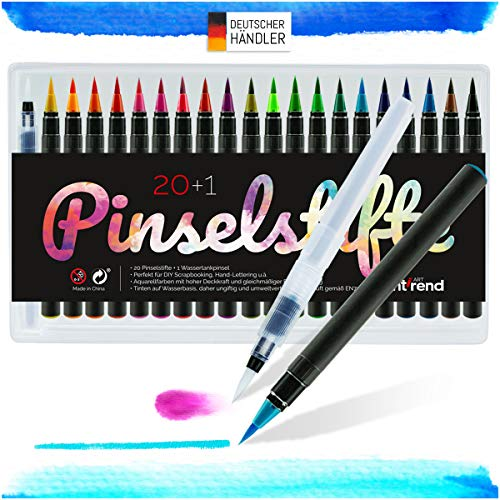 int!rend Pinselstifte Set 20 Aquarell Farben + 1 Wassertankpinsel, Brush Pen Stifte für Bullet...