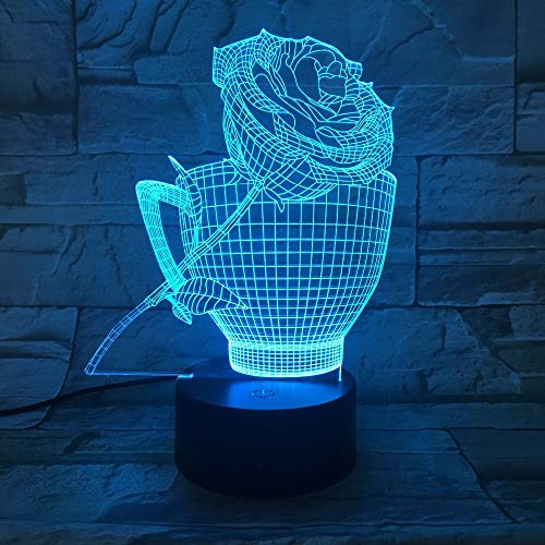 orangeww 3d Illusion Nachttischlampe / 7 Colorsremote Control Nachtlicht/Kind Baby Schlaf Beleuchtung /Roses Cup Rose Cup
