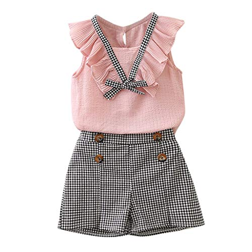YWLINK Kind Princess ÄRmellos Elegant Set Chiffon RüSchen Bowknot-Westenoberteile + Retro Karierte Shorts (Rosa,6-7 Jahre)