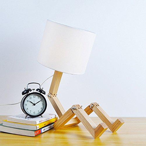 Lampe de table Janpan Style Créatif Pliable Robot Lampes De Bureau en Bois Base Moderne Lampara comme Maison Chambre Lecture Veilleuse (Couleur : Commutateur à Bouton)