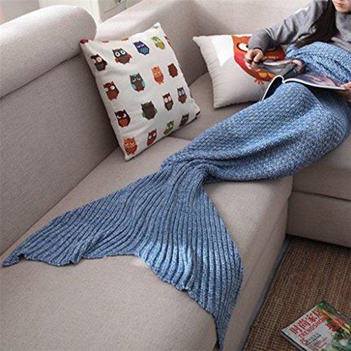 aren & Bettwäsche Baumwolle gepolsterte warme Meerjungfrau Schwanz Decke Sofa gestrickte Freizeit Winter Erwachsene Kinder Nickerchen kleine Decke Geschenkbox Verpackung ()
