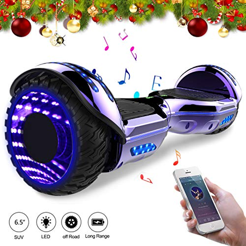 Mega Motion 6,5 Zoll Elektro Skateboard E-Board Hover - mit RGB LED auf Rädern - LED Zelt - Bluetooth Lautsprecher - Gyropod Modell